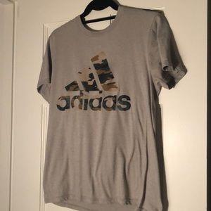 Adidas gray, Camo Logo, performance tee, Adult SM